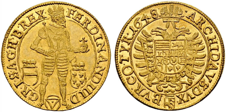 Holy Roman Empire Av 2 Dukaten 1648 Vienna Mint Ferdinand Iii 1637