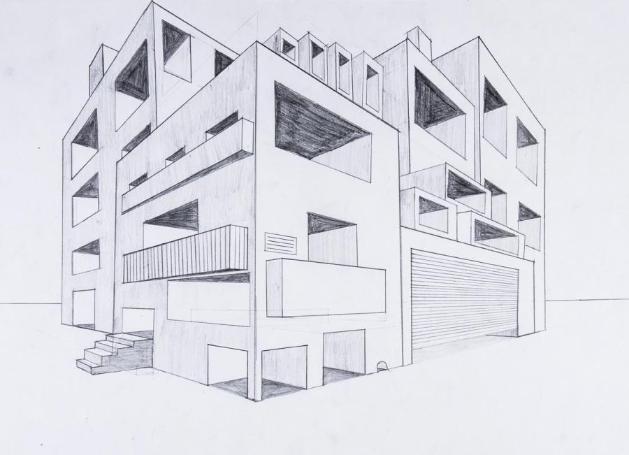 Perspektive Mit 2 Fluchtpunkten Futuristisches Gebäude