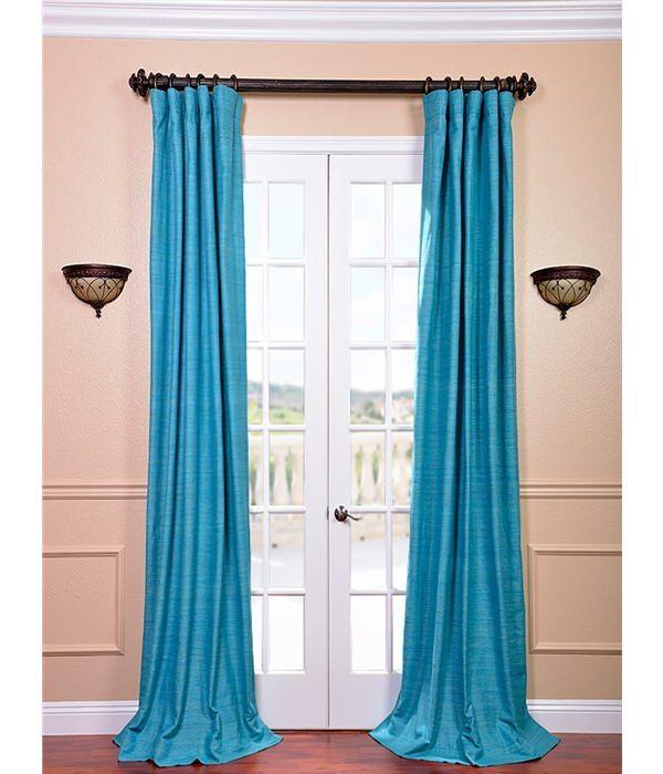 Cozumel Blue Raw Silk Curtain 50w X 120l Pole Pocket With Hook