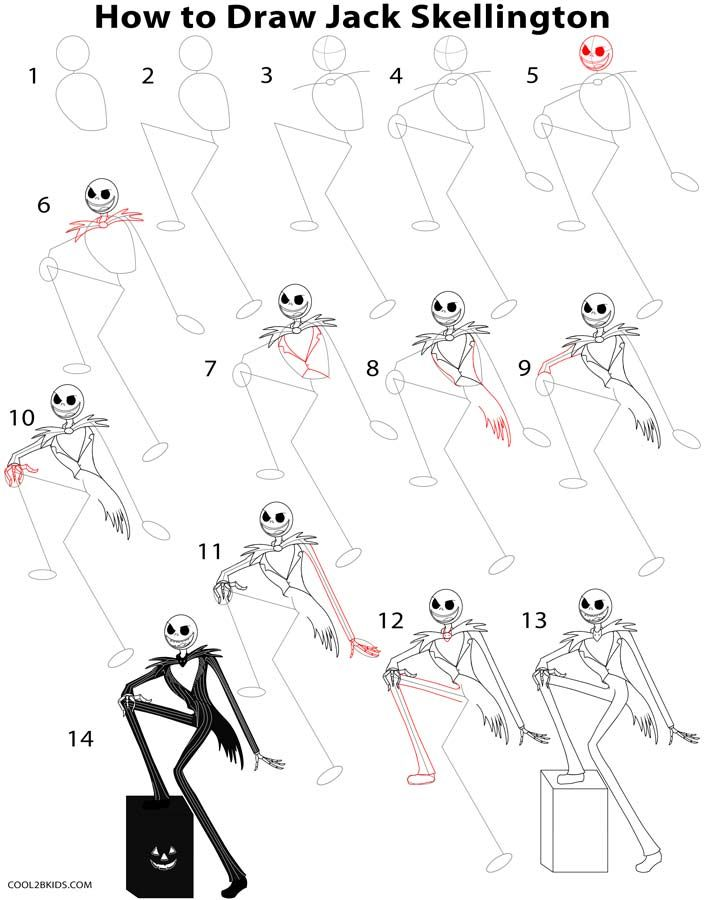 How To Draw Jack Skellington Step By Step Drawing Tutorial With