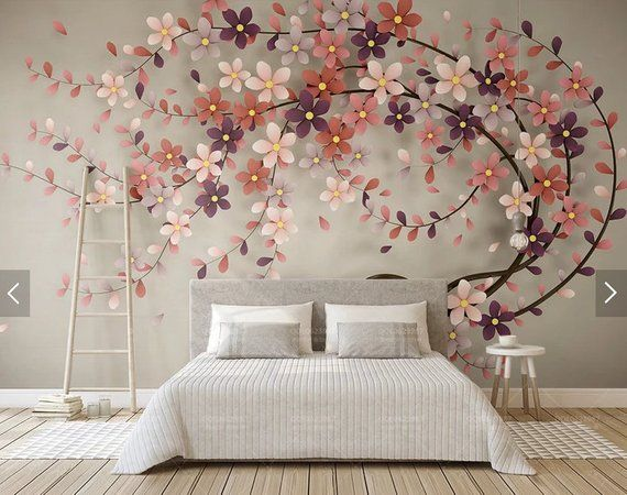 3D wall mural flowers, removable wallpaper mural for