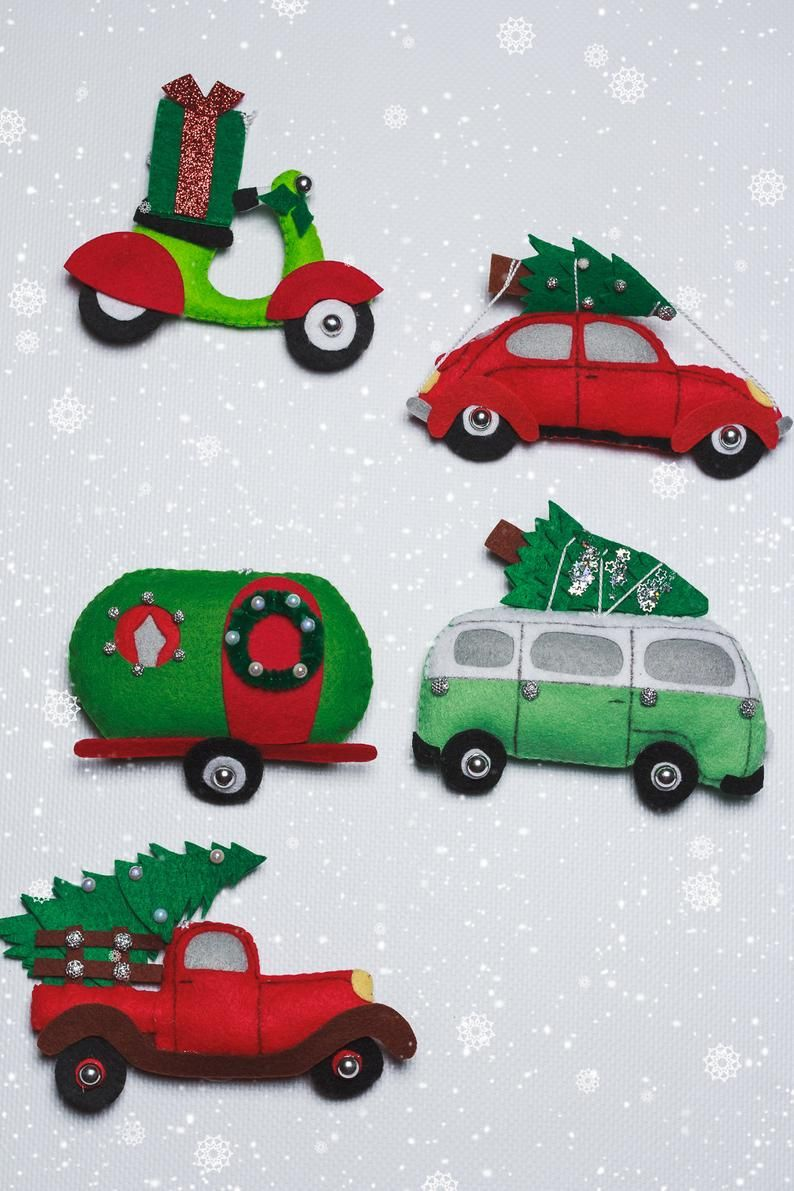 Christmas truck ornament Personalized Christmas stocking stuffers Felt red car with tree ornaments set Trailer Camping gifts Tree decor Bus
