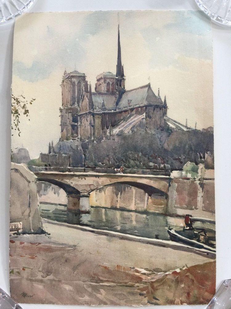Marc Markovitch Paris Notre Dame Watercolor Print 8 1 2 X 12 1 2