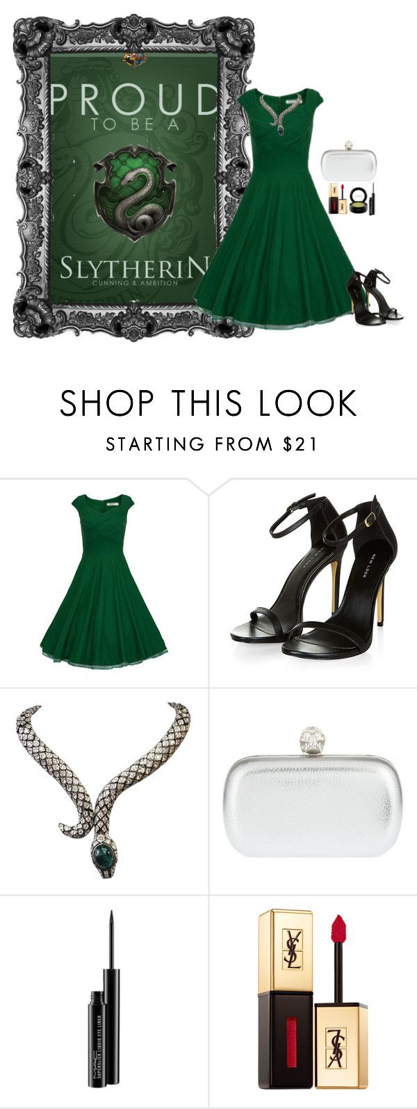 """""""Slytherin House"""" by emerald-writer-girl ❤ liked on Polyvore featuring Alexander McQueen, MAC Cosmetics, Yves Saint Laurent, harrypotter, slytherin, Silver, GREEN and HousePride"""