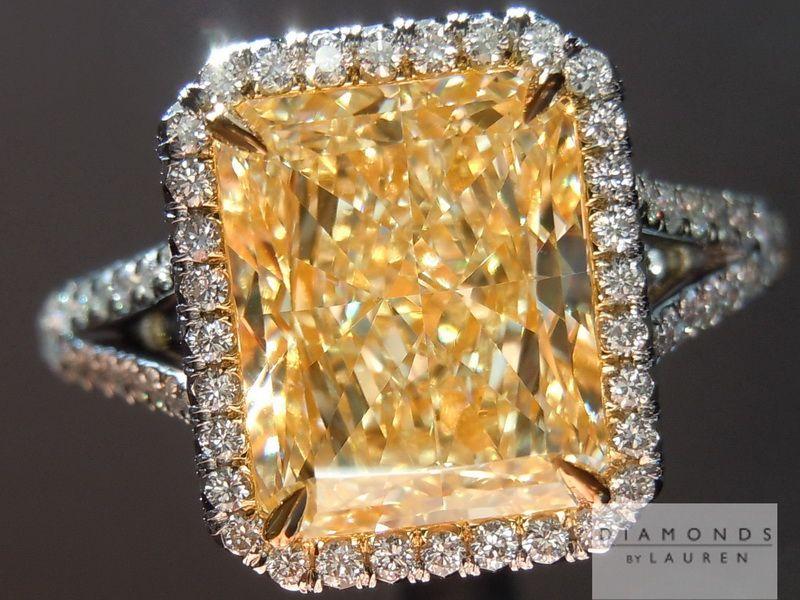 This U-V radiant cut diamond looks closer to Fancy Intense Yellow now set.