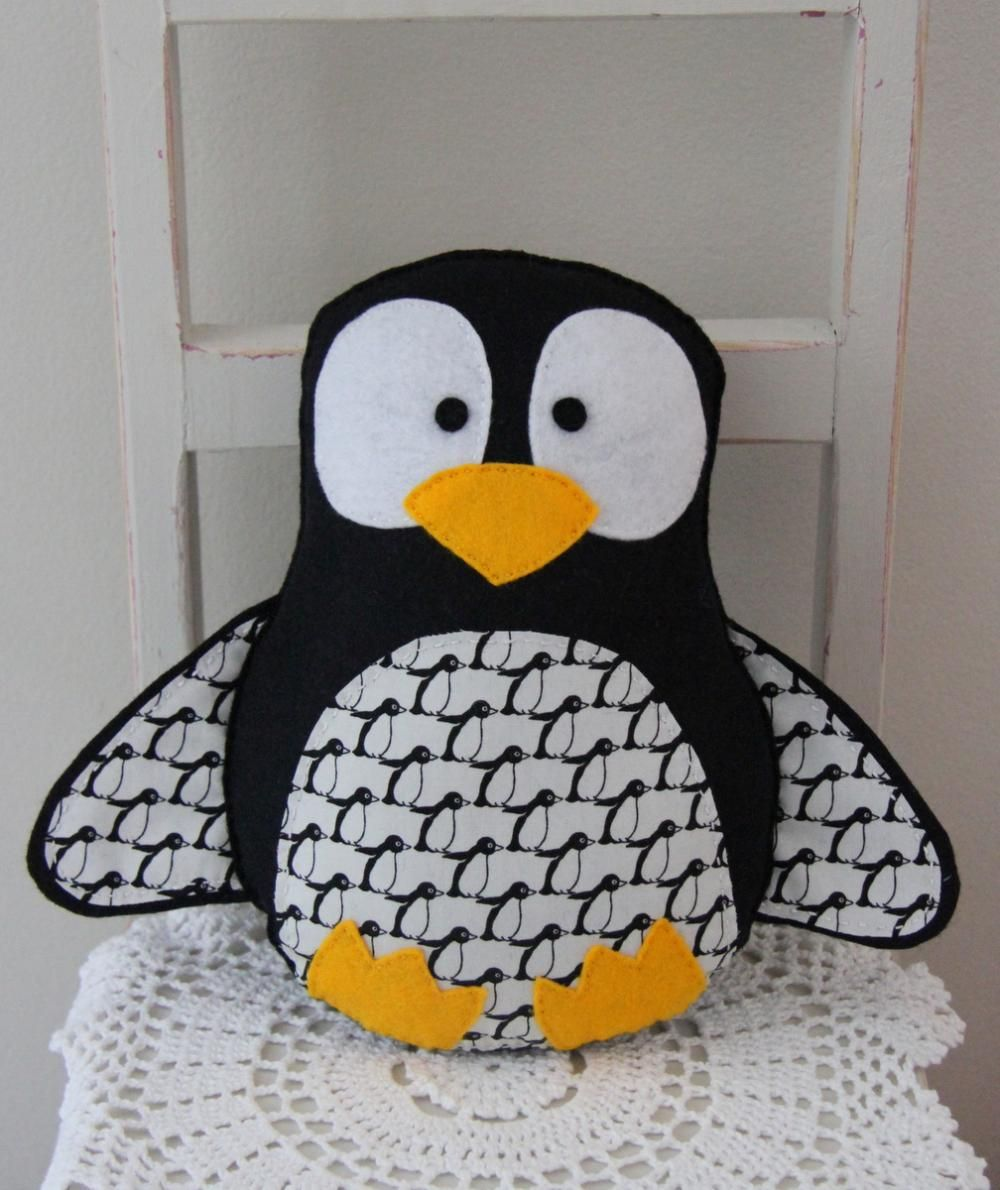 Felt penguin toy in black and white sewing pinterest