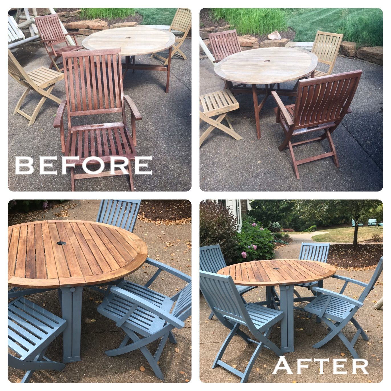 Teak Wood Outdoor Table Wood Furniture Easy Transformation Blue Chairs Diy S Wooden Outdoor Furniture Painted Outdoor Furniture Teak Outdoor Furniture