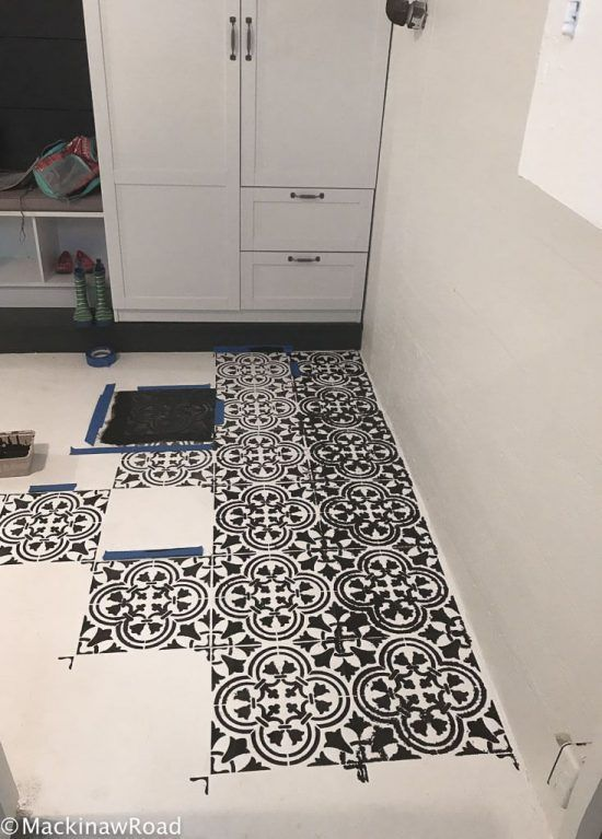 Basement Floor Makeover Using Tile Stencil Our Home