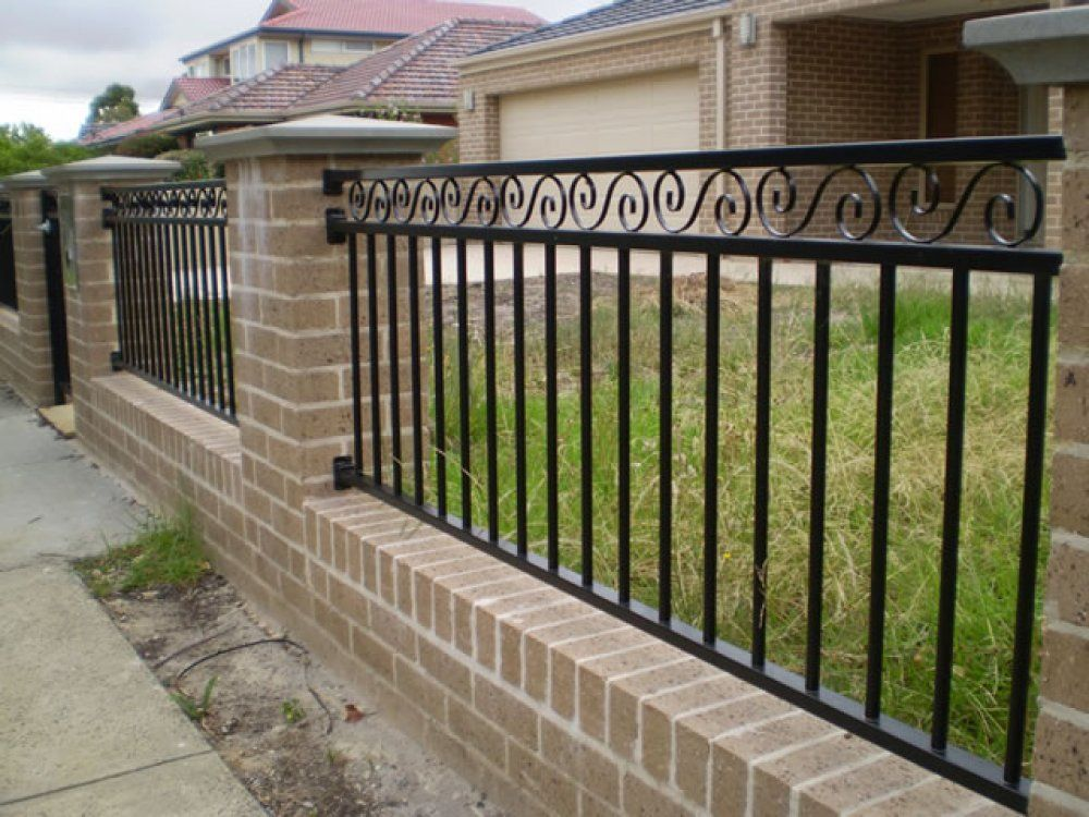Iron Fence With Brick Columns With Images Backyard Fences