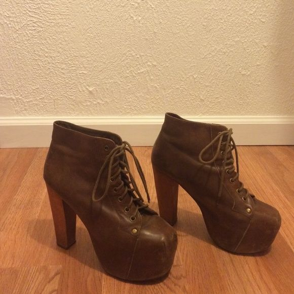 Jeffrey Campbell brown distressed leather lita Worn but still in great condition! Some scratches on heel. Sad to let these go but they don't fit me anymore :( Jeffrey Campbell Shoes