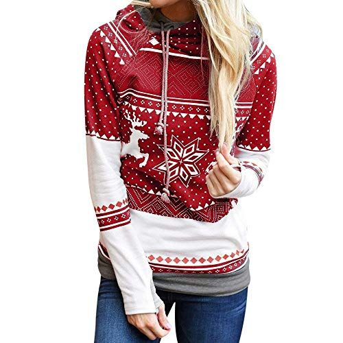 Einkaufsangebote: Frohe Weihnachten Frauen Dots Elk Tops Print Kapuzenpulli Unikat Style Snowflake Pullover Bluse Party Clubbing Outing Dating Outwear (Color : Rot, Size : XL)