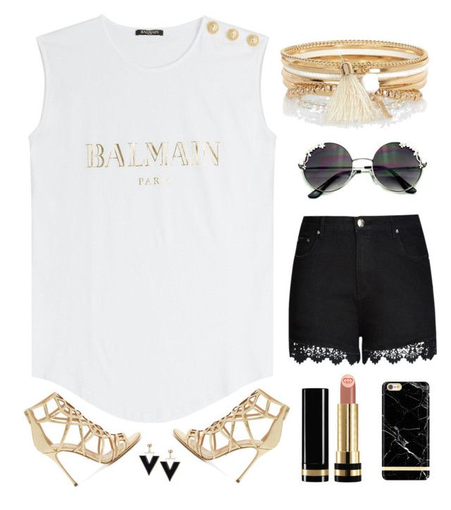 """""""Classy"""" by aurorabc ❤ liked on Polyvore featuring Balmain, River Island, Gucci, City Chic, Sergio Rossi, gold and balmain"""