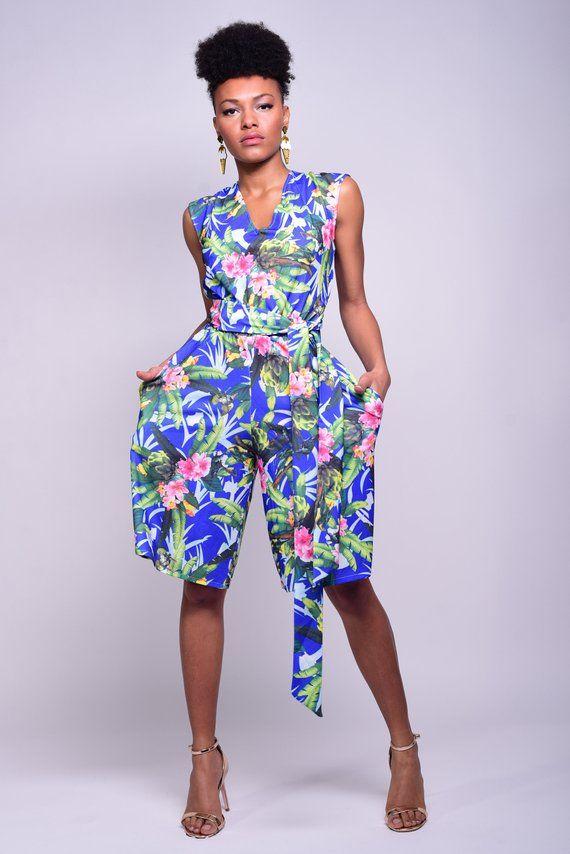 Bermuda Shorts Floral Romper Short Overalls Women Overalls