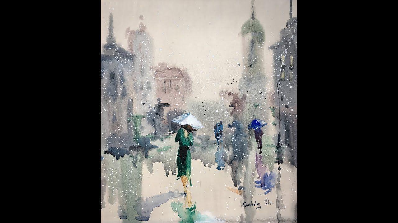 Easy Watercolor Rain Watercolor Professional Painting Youtube