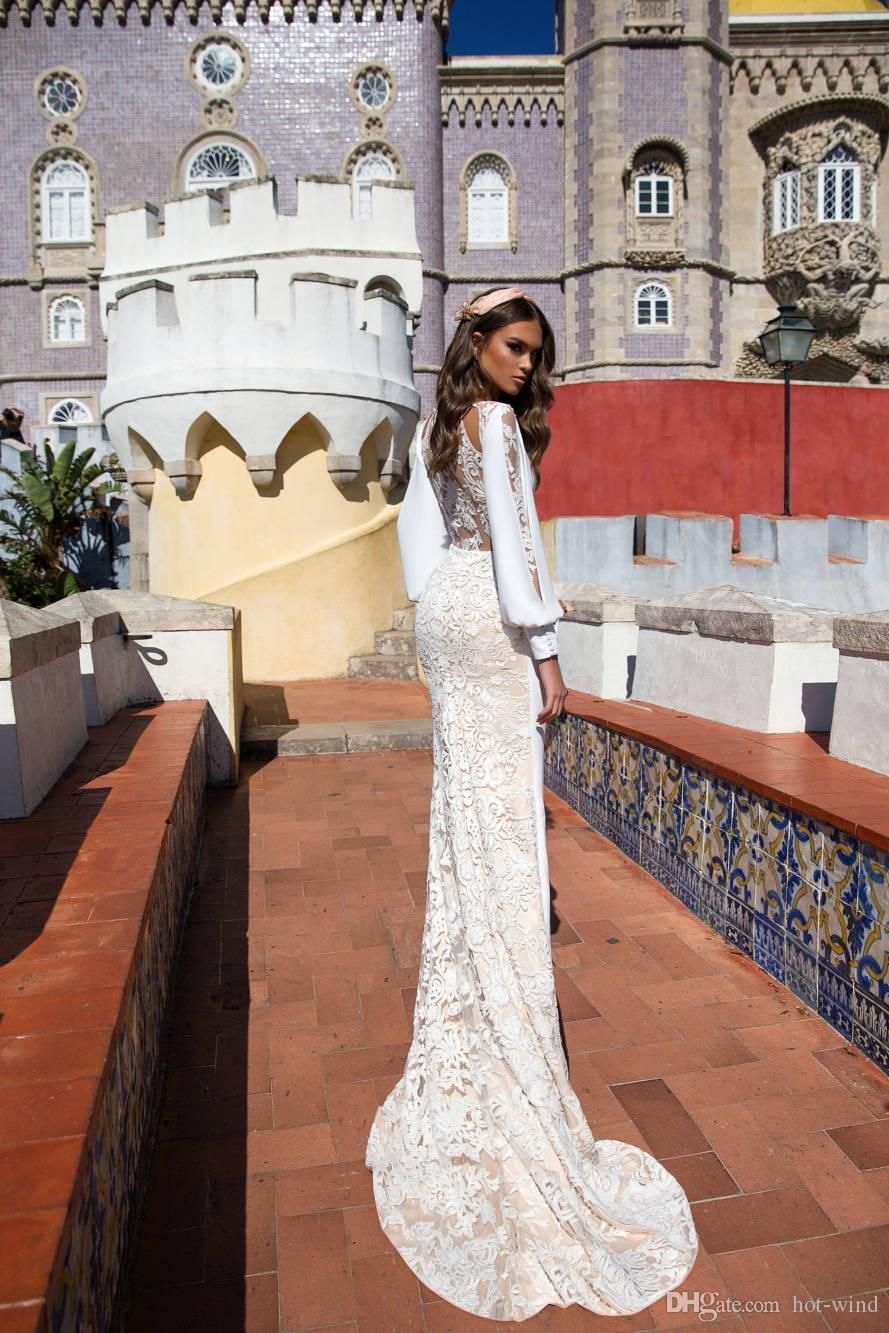 Cheap 2018 Vintage Lace Satin Mermaid Wedding Dresses With Cowl ...