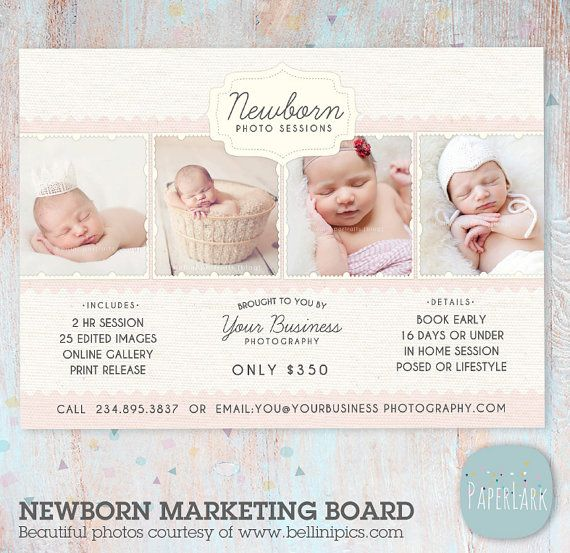 Newborn Photography Template - Marketing Board - Photoshop Template - IN003- INSTANT DOWNLOAD