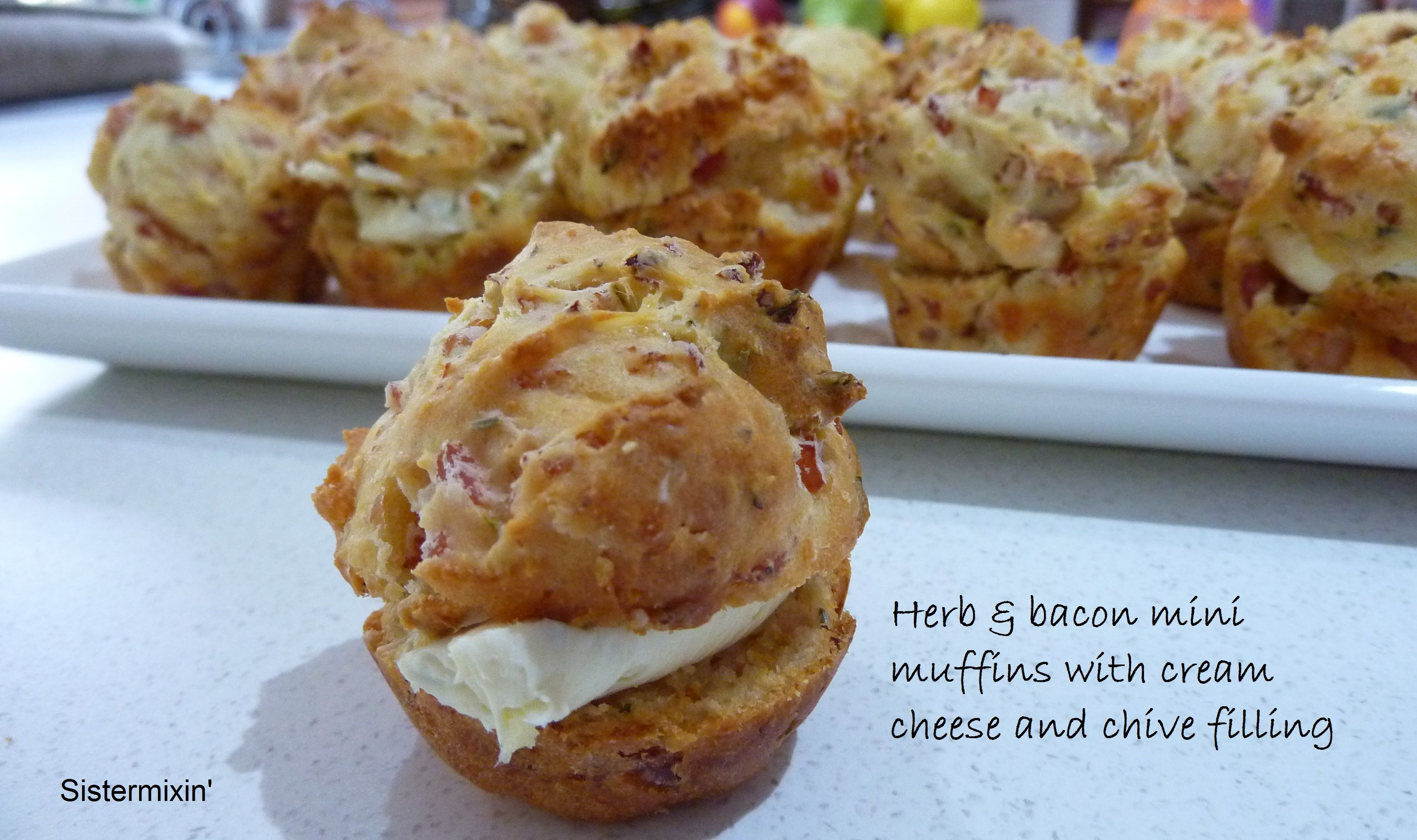 Herb & Bacon Mini Muffins With Cream Cheese & Chive
