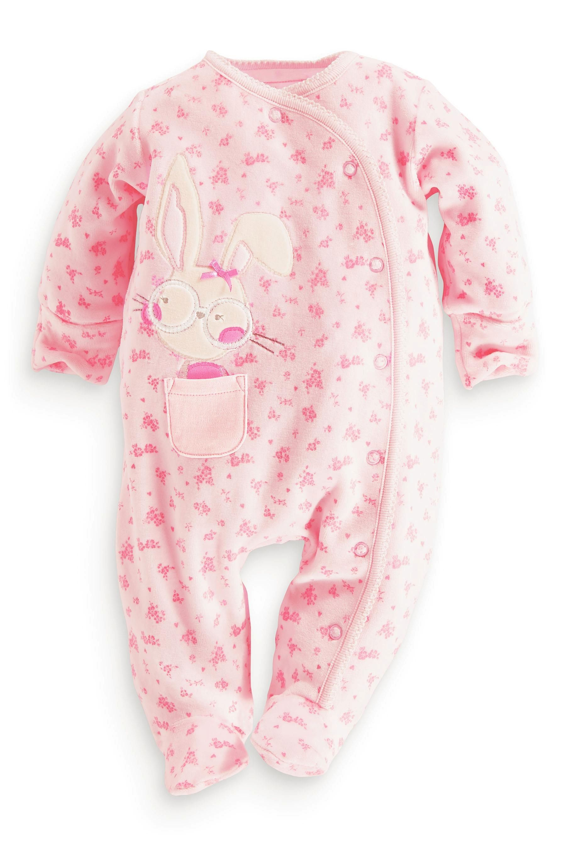 Buy Pink Bunny Velour Sleepsuit 0mths 18mths from the Next UK