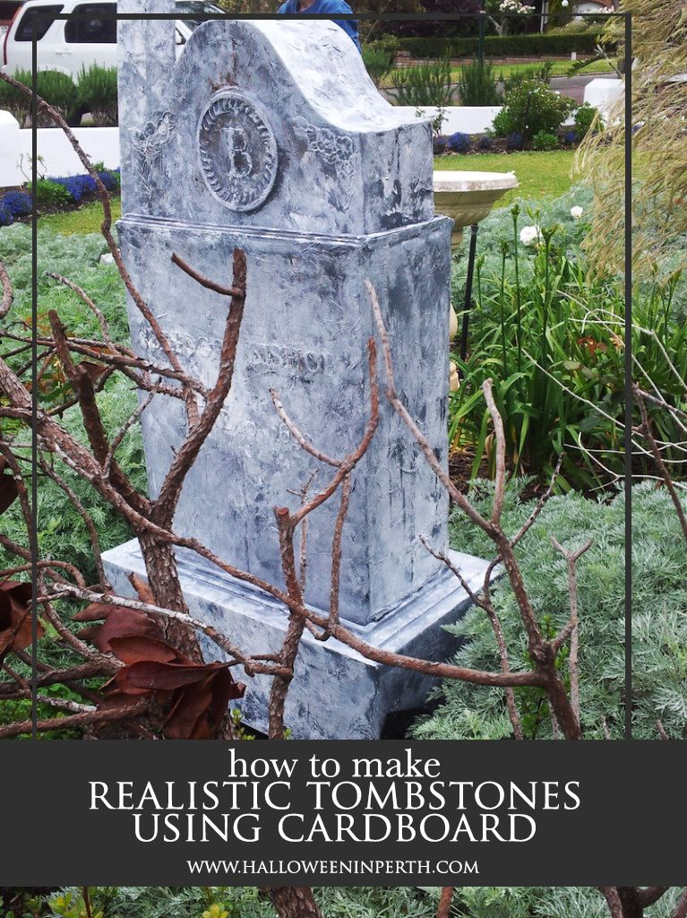 how to make realistic looking tombstones for your Halloween yard
