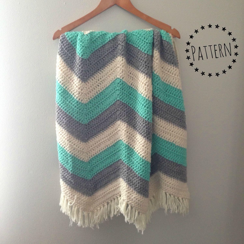 Chevron Crochet Baby Blanket Pattern // Zigzag Crochet Pattern ...