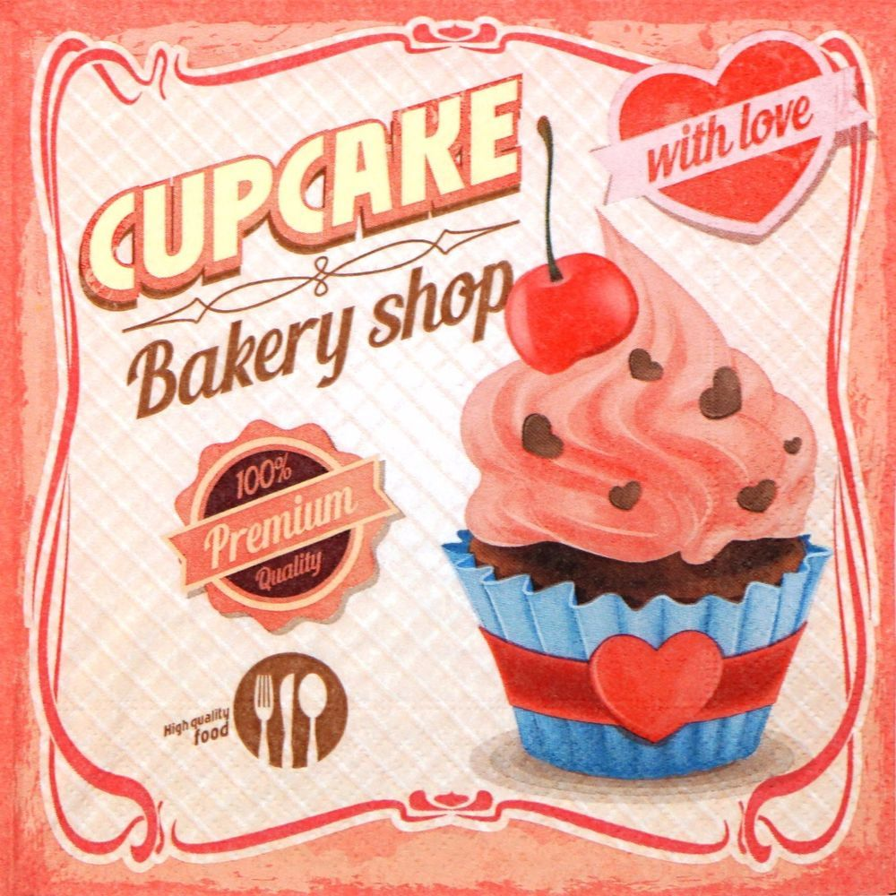 Pink cupcake Decoupage Craft 4x Paper Napkins for Party