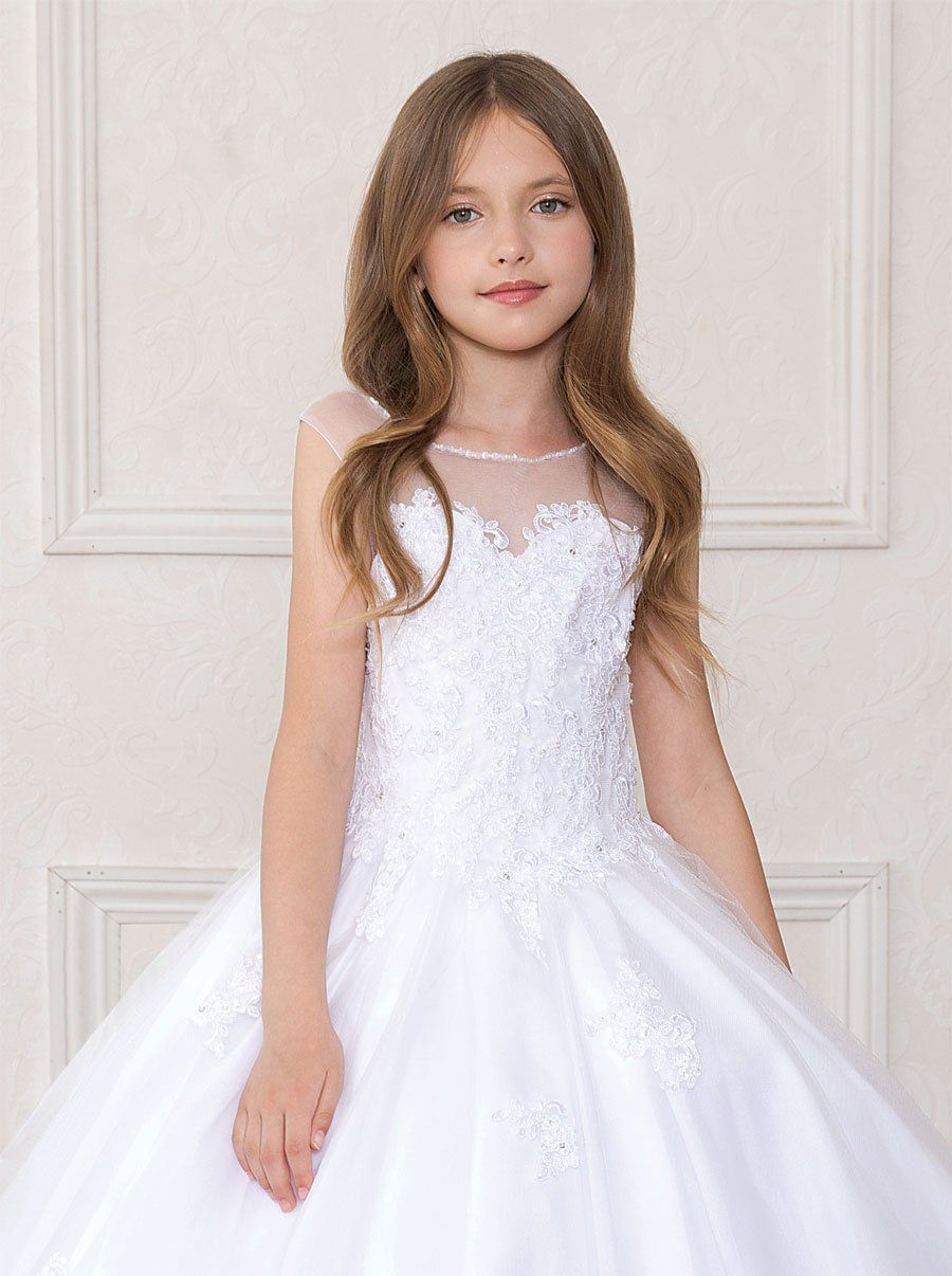 Girls Long White Dress With Lace Bodice By Calla Sy123 Abc Fashion Girls Long White Dress Long White Dress Cute Girl Dresses [ 1206 x 900 Pixel ]
