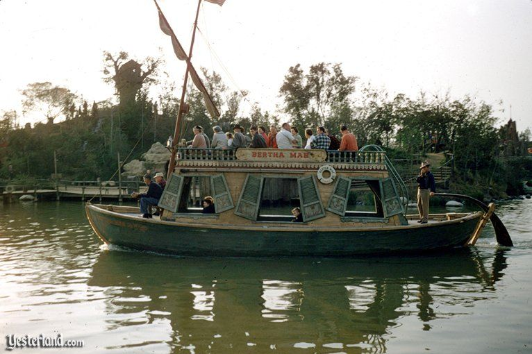 Mike Fink Keel Boat, circa 1956. Both the Bertha Mae (pictured) and the Gully Whumper used to ply the Rivers of America. Bertha Mae is now in the hands of a private collector and Gully Whumper is docked next to what is now called Mike Fink's cabin.