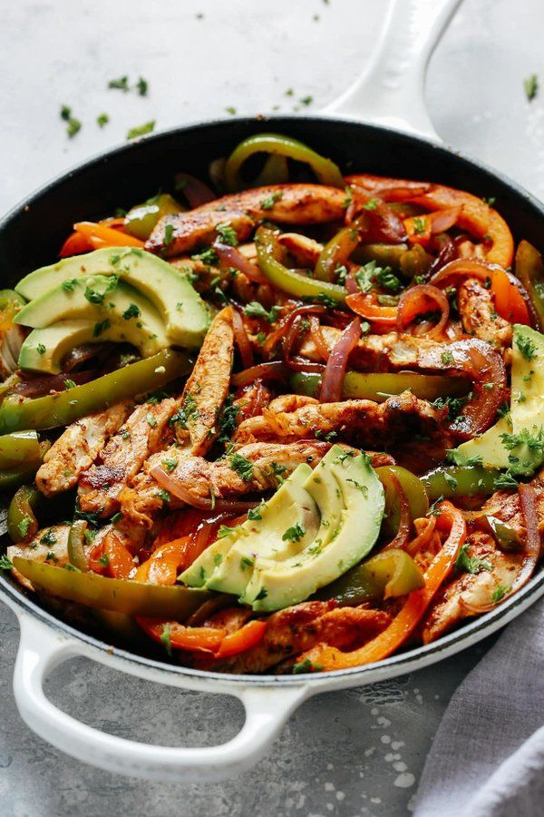Skillet Chicken Fajitas Recipe #recipeforchickenfajitas