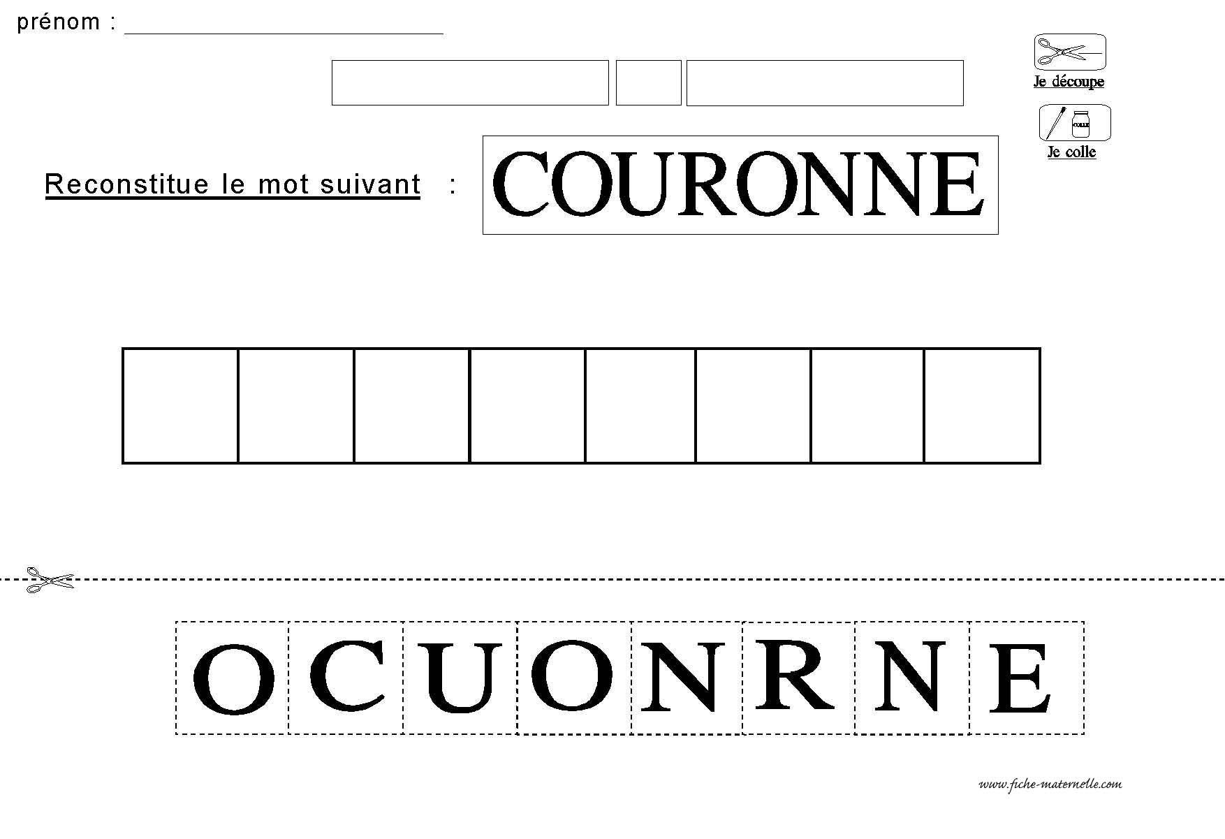 Bien Trouver Un Mot De 7 Lettres Avec 12 Lettres #9: Découper Les Lettres Et Reconstituer Le Mot COURONNE