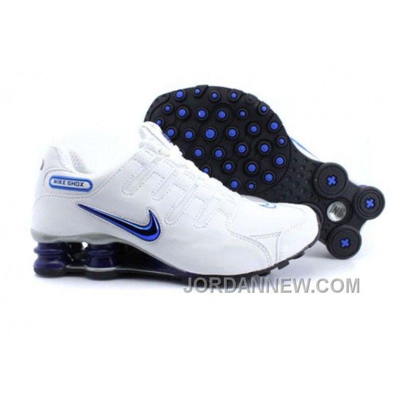Women's Nike Shox NZ Shoes White/Grey/Dark Blue/Black New Style,