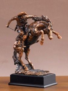 Rodeo Bronc Rider Copper Plated Sculpture Western figurine Decor