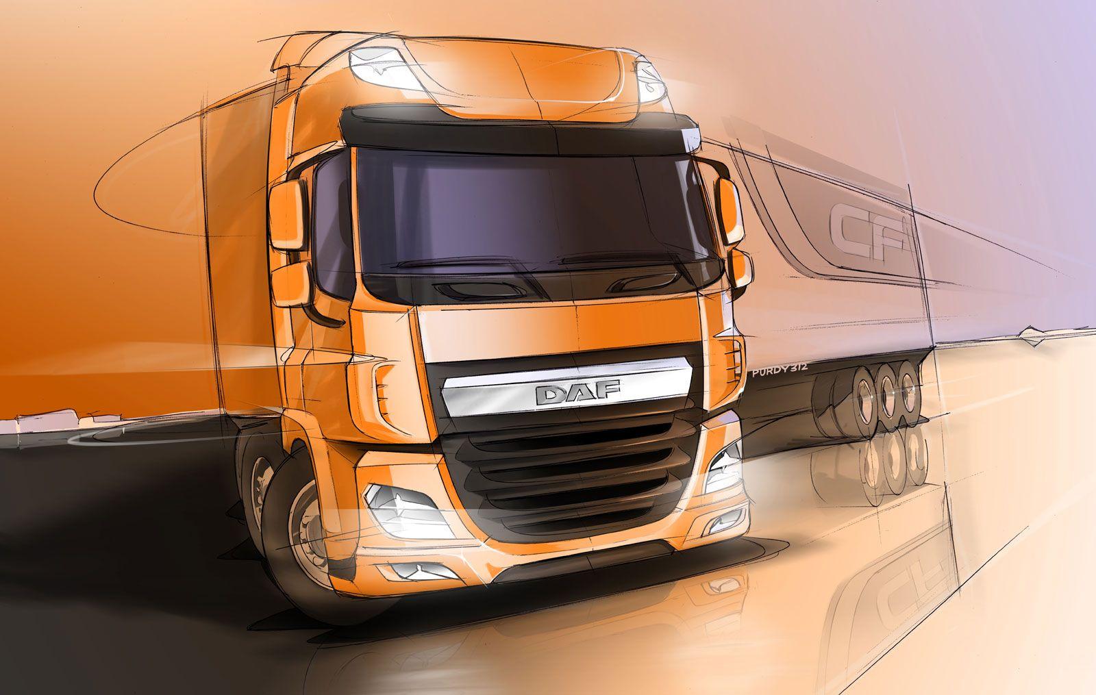 Daf Cf Design Sketch Truck Design Concept Car Design Automotive Design