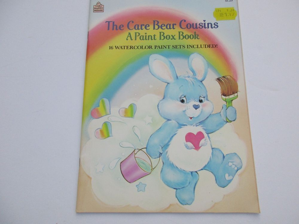 Vintage Care Bear Cousins Paint Box Book Unused 1986
