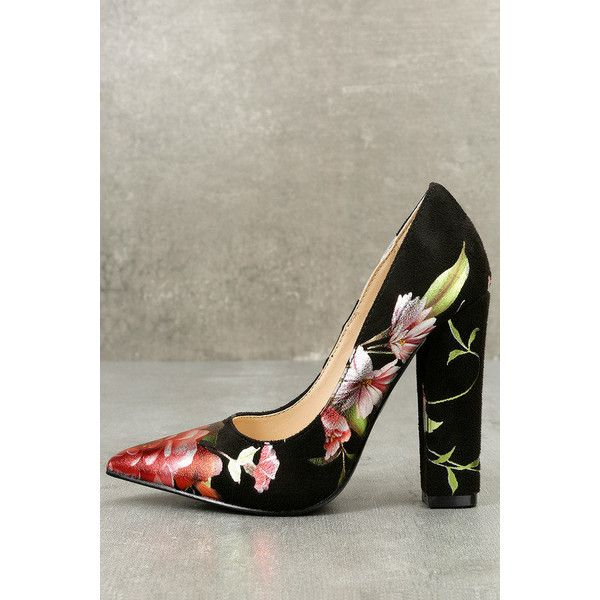 930d55e4bb2c Shoe Republic La Marie Black Suede Print Pointed Pumps ( 25) ❤ liked on  Polyvore featuring shoes