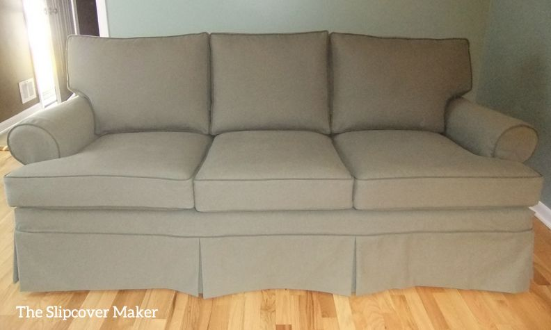 Updated 1990u0027s Ethan Allen Sofa With Pottery Barn Style Washable Denim  Slipcover In Color Loden Green.