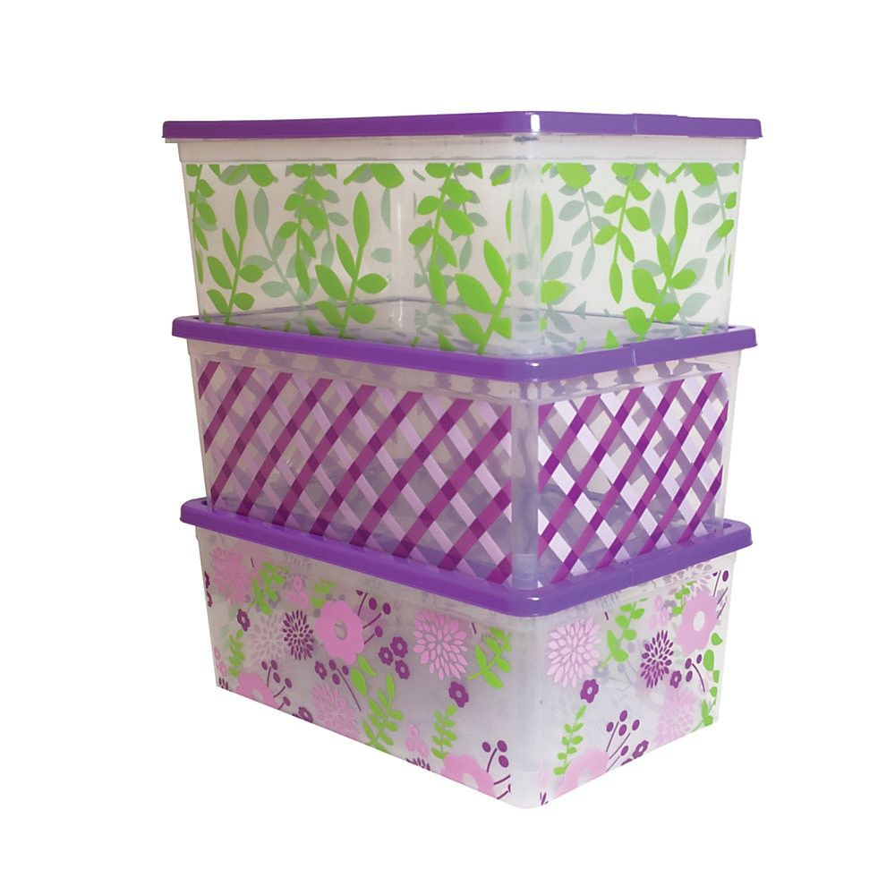 Office Depot Brand In Mold Label Plastic Storage Boxes 16 3 4 X 11 X 6 1 2 Floral Design Pack Of 3 Plastic Box Storage Storage Boxes Plastic Storage