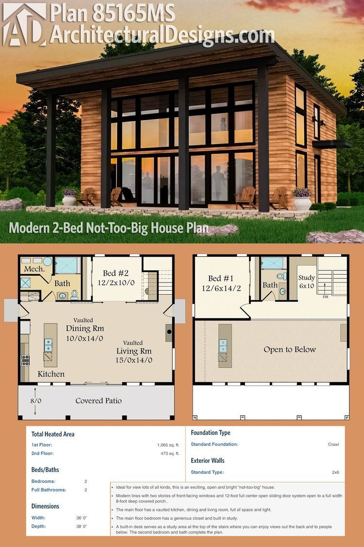 Plan 85165ms Modern 2 Bed Not Too Big House Plan Modern House Plan Modern House Plans Tiny House Design