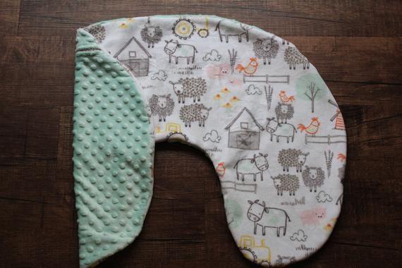 Minky Farm Animal Nursing Pillow Cover, Neutral Farm Nursing Pillow Cover, EIEIO Farm Newborn Lounge