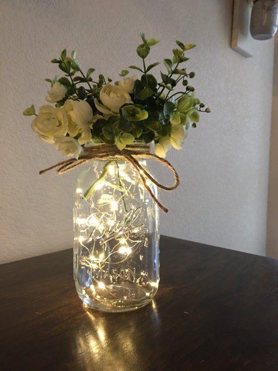 Quart Size Mason Jar with Fairy Lights and Flowers, Mason Jar Decor, Night Lights, Farmhouse, Bridal Shower Decor, Wedding Table Decorations