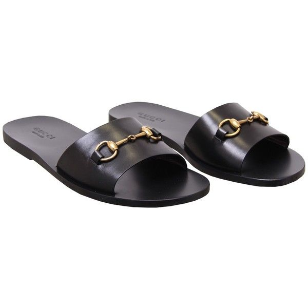 Gucci Black Leather Horsebit Sandal 2 350 Cny Liked On Polyvore Featuring Men S Fas Mens Black Leather Sandals Black Leather Shoes Men Mens Leather Sandals