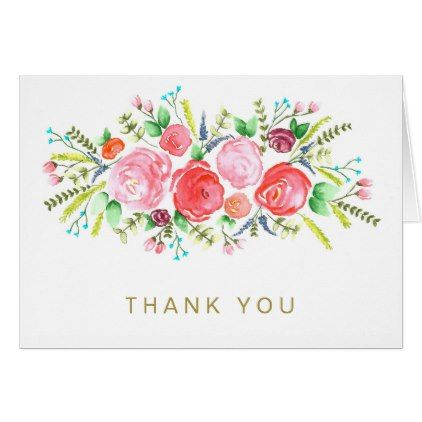 Wedding Thankyoucards Watercolor Floral Pink Rose Gold Generic
