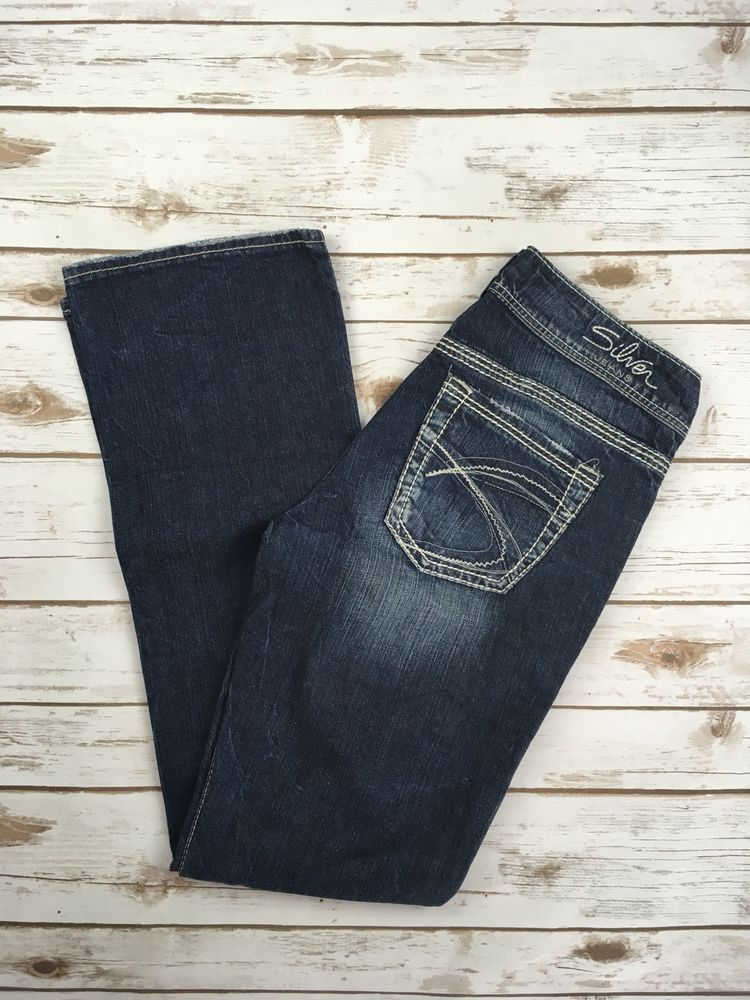 New SILVER JEANS Slim Boot Buckle Mid Rise Suki 17