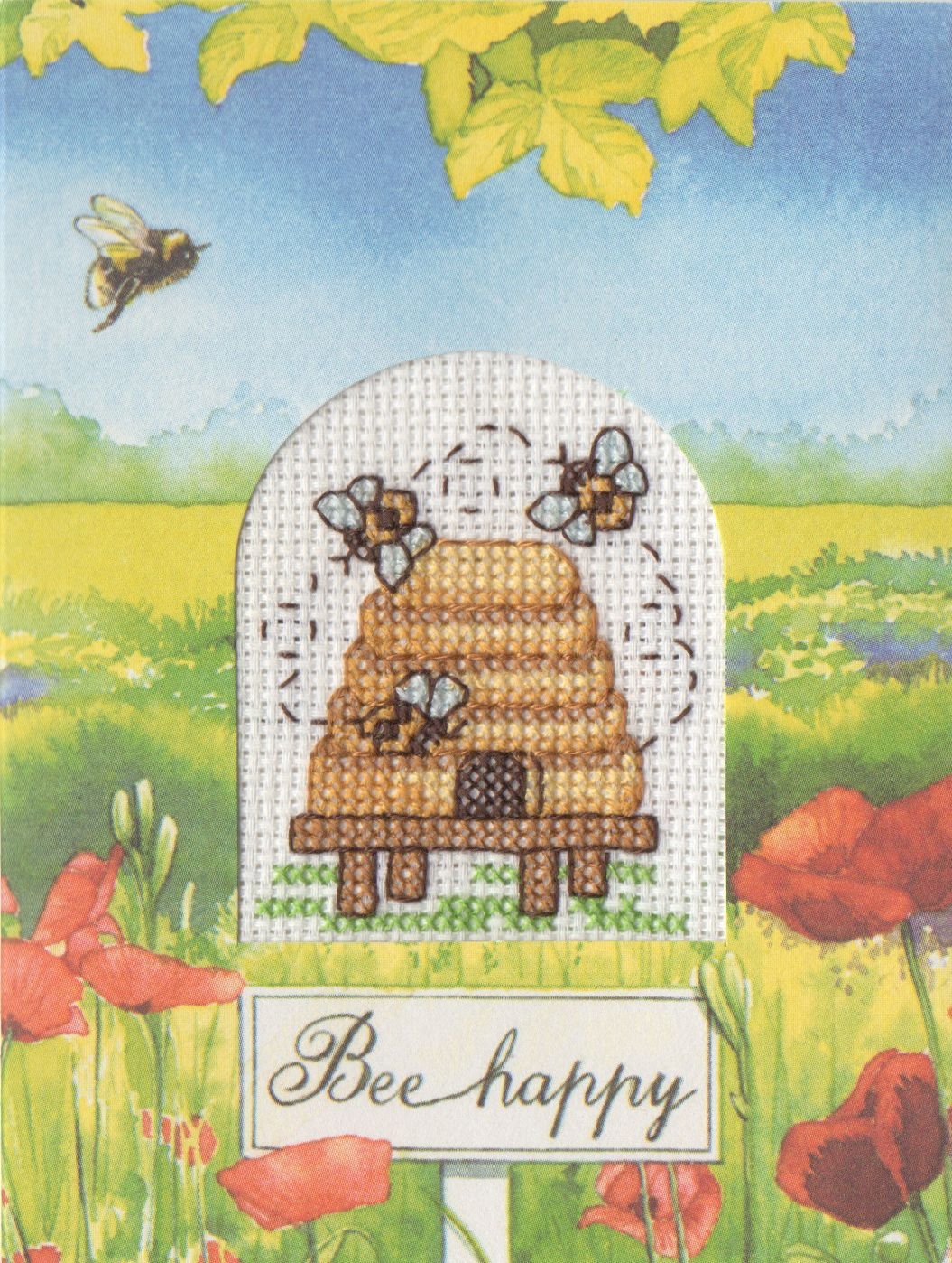 Bee Happy Cross-stiched Card