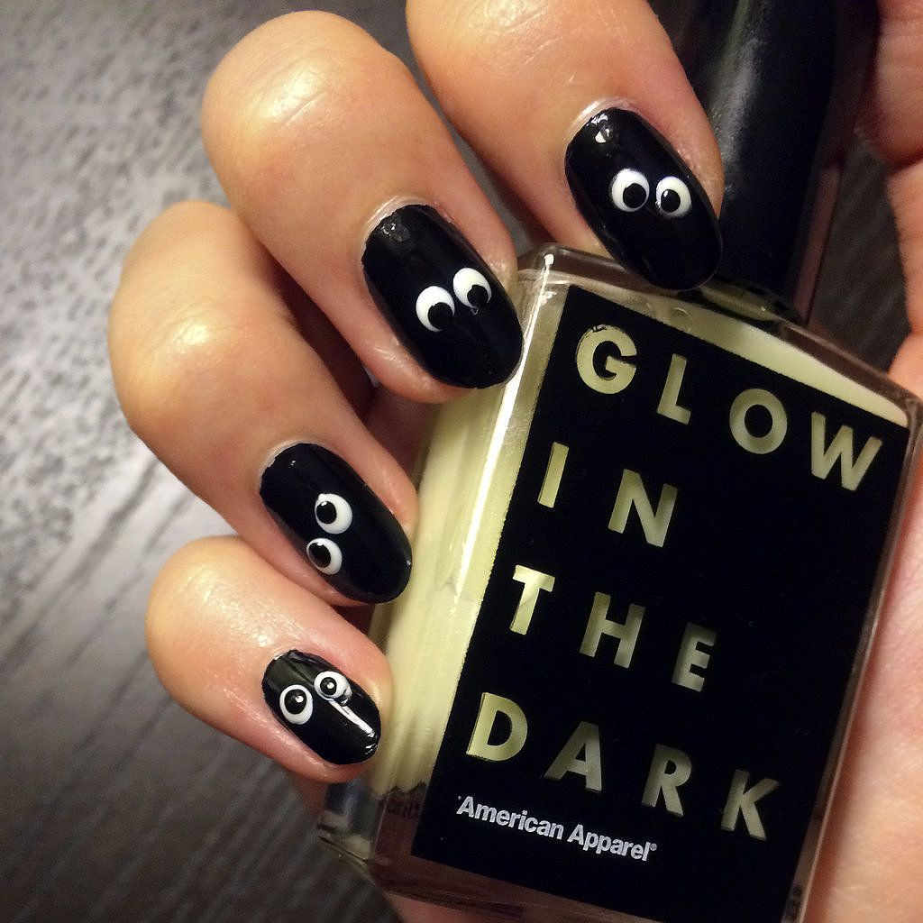 DIY Your Own Googly Glow-in-the-Dark Halloween Nail Art | Googly ...