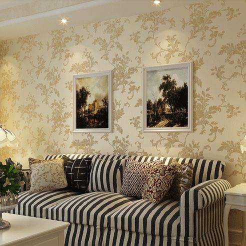 European pastoral 3d woven wallpaper embossed elegant off for Wallpaper for adults bedroom