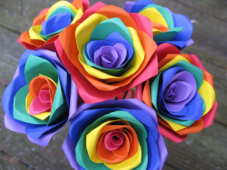 Rainbow Roses Half A Dozen Red Orange Yellow Green Blue