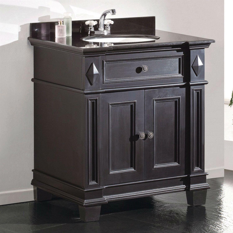 Single Sink Bathroom Vanity with Cabinet & Black Granite ...
