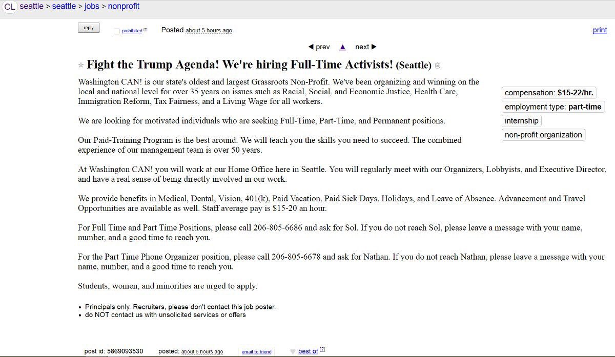Leftists Already Putting Out Ads For 'FullTime Activists