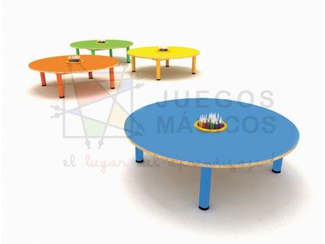 Mesa circular metal madera con organizador pata ancha diametro 97 cm - Jardin Infantil