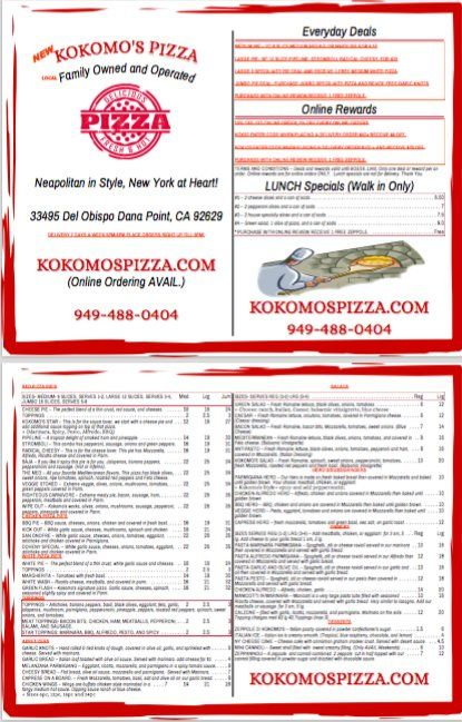 New Menu is out and there are NEW items, order online at http://www.kokomospizza.com  #Pizza #DanaPoint #CA